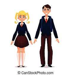 Students in school uniform, vector cartoon comic...