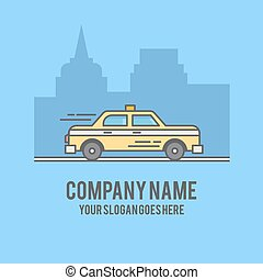 Taxi car on city background silhouette. Flat line styled illustration