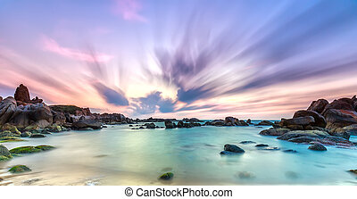 Dance cloudy dawn coastal reefs - Dance of cloudy dawn on...