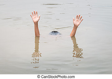 Children in big water pond : Concept drowning - Thai...