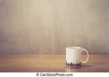 café, taza, de madera, Arriba, cierre, tabla, blanco