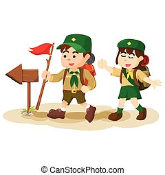 boy and girl scout following arrowsign