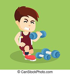 boy exercising with dumbell