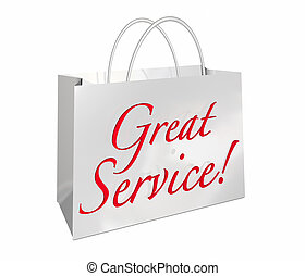 Great Service Shopping Bag Customer Satisfaction Words 3d Illustration