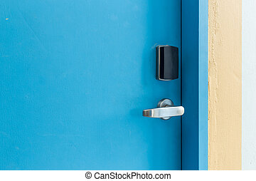 Entrance door with electronic keycard lock system - Blue...