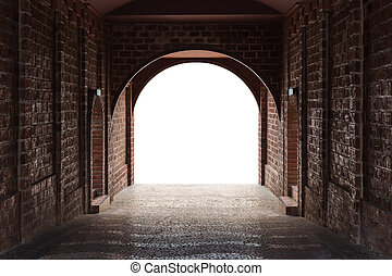 Walkway tunnel made by red brick and middle white isolated...