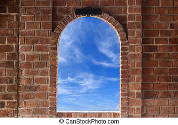 Abstract square red brick wall texture with windows frame...