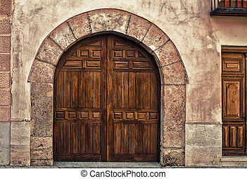 Wooden gates in Alcala de Hernares, Madrid