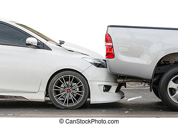 Car accident involving two cars on the street