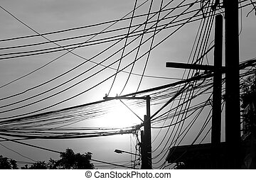 chaotic electricity wire - abstract of chaotic electricity...