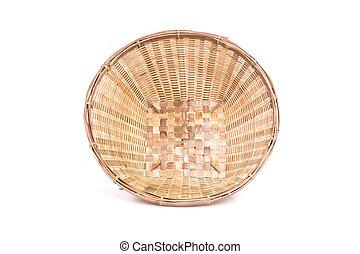 Empty bamboo basket handmade isolated on white background