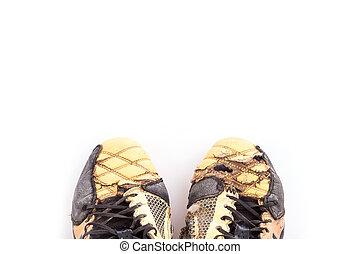 viejo, fútbol, zapatos, aislado, en, blanco,