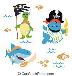 pirate Animals - Set of cute Animals pirate design