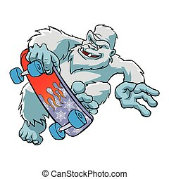 Skater yeti Isolated,Sasquatch cartoon