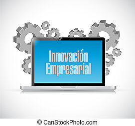 business innovation computer sign in Spanish illustration...