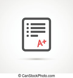 Test paper trendy flat icon. Vector - Test paper trendy flat...