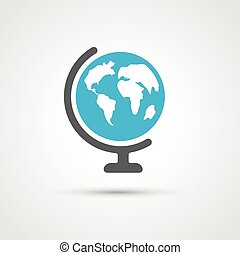 Color globe flat icon - Color globe flat trendy icon. Vector...
