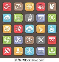 SEO and Development icons for web, mobile. Vector