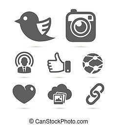 Social network icons isolated on white. Vector