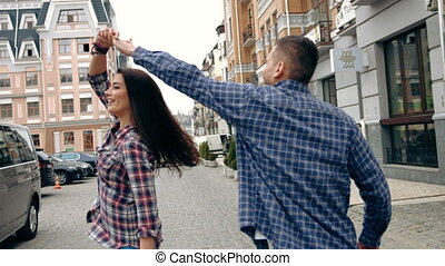 Romantic young people and love, man and woman as male and...