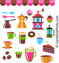 Coffee shop colourful icons