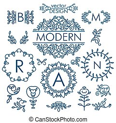 Big Vector set of line floral design elements for logos,...
