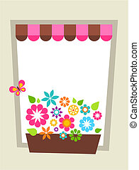 Window-shaped card template - Greeting card template with...