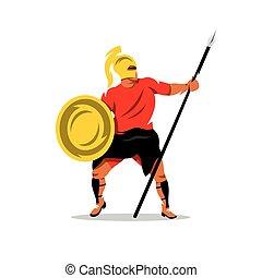 Vector Spartan Warrior Cartoon Illustration - Gladiator in a...