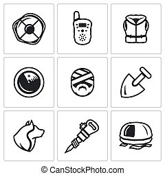 Vector Set of Search and Rescue service Icons. Lifebuoy,...