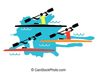 Kayaking competition - Stylized illustration of three...