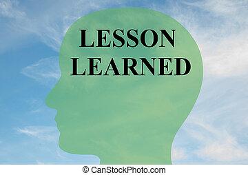 Lesson Learned mental concept - Render illustration of...
