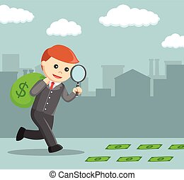 businessman following dollar