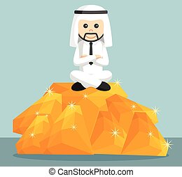arab businessman sit on the top of the pile of orange...