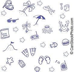 Beach summer doodle art