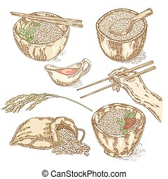 Thai jasmine rice in a bowl Hand with chopsticks Hand drawn...