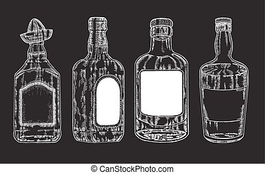 Vector bottles with strong alcohol Hand drawn whiskey and...