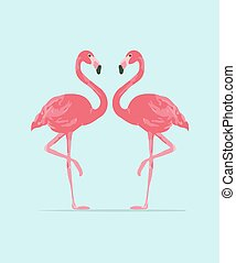 Vector illustration pink flamingo couple. Exotic bird. Cool...