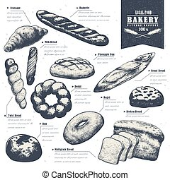 hand drawn bake shop poster - exquisite hand drawn bake shop...