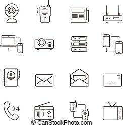 Lines icon set - communication devi