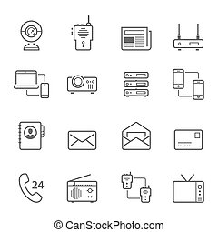 Lines icon set - communication devices