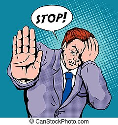 stop pop art illustration - man showing stop gesture