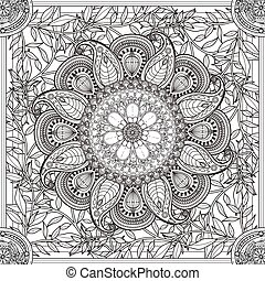 exquisite Mandala background design with floral elements