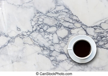 White coffee cup on stone table background top view - Close...