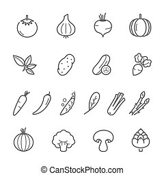 Lines icon set - vegetable
