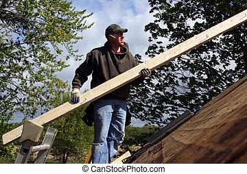 riparazione, carpentiere, tetto