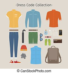Casual clothing set Everyday outfit and accessories vector...