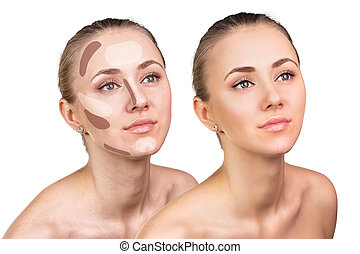 Contouring make-up on woman face