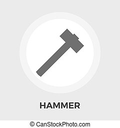 Hammer flat icon - Hammer Icon Vector Flat icon isolated on...