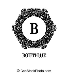 Monogram design Vector floral outline frame or border -...