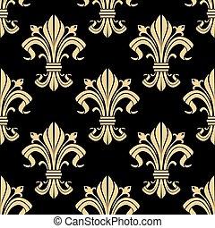 Royal golden fleur-de-lis seamless pattern